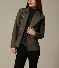 French Connection Erno Wool Short Military Jacket In Army Green. Size 8. $298