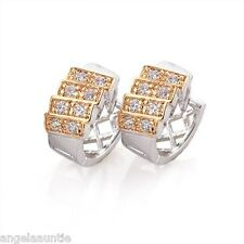 18K White & Yellow Gold Filled Clear CZ Earrings (E-127)