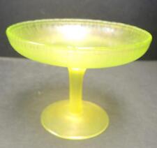 Antique Iridescent Green Stretch Glass Comport