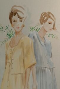 Vintage Women Fashion Illustration Painting Modern Art Wall Hanging Mid Century