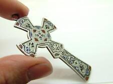 Antique Victorian Silver & Enamel Celtic Cross Crucifix Pendant/Charm -Damaged-