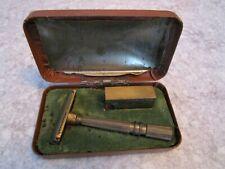 Vintage GEM Micromatic Clog Pruf Safety Razor, Brass, Blade Holder, Case,