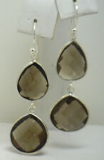 VERY HOT! New Sterling Smokey Quartz Pear Shape Checkerboard Cut Dangle Earrings