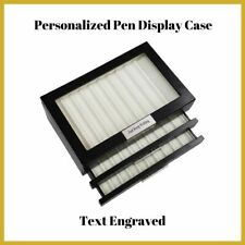30 Piece Personalized Black Ebony Wood Three Level Fountain Pen Display Case Box