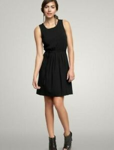 Women's XS Black Gap Dress with pleats and back tie NEW Stretch