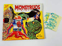 Vintage 80s 90s Mexico Monstruos Sticker Album empty w/ two monster stickers