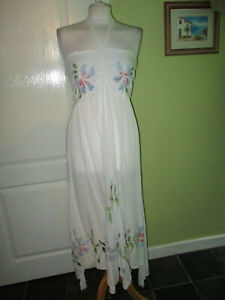 BNWT WOMENS LONG WHITE EMBROIDERED SUMMER DRESS FITS A UK 12-14 BY S.R FASHION