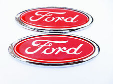 Ford fiesta insignia oval rojo/Enfoque etc. 115mm X 45mm nuevo X2