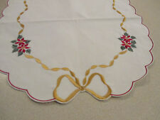 """Embroidered Christmas Poinsettia Table Runner - 36"""" x 14 - 1/2"""""""
