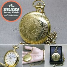 "Gold Antique Pocket Watch Brass Case Men Size Gift + 14"" Fob Link Chain P281"