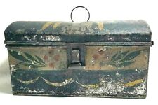Primitive Very Old Tin Tole Document Box; Fanciful Painting Apples; Dome Top
