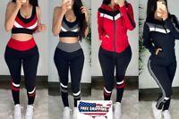 3Pcs Set Women Casual Tracksuit Jacket Hoodie Sport Top Jogger Pants Gym Suit