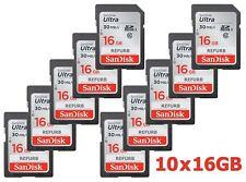 LOT 10x SanDisk Ultra 16GB SDHC Class 10 Memory Card 10 x SD 16 GB G 30MB/s