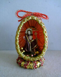rotes Osterei, Wachs überzogen, mit auferstandenem Christus in Wachs, RAR