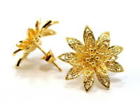 Beautiful Detail Thai Flower Earrings 22K 24K Yellow Gold GP Jewelry GT61