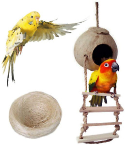 Bird Nest for Parakeets Naturals Coco Parrot Breeding Box Lovebird House Cage Pl