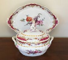 KPM Berlin ROCAILLE Porcelain Soup Tureen with Putto Cherub & Oval Platter c1900