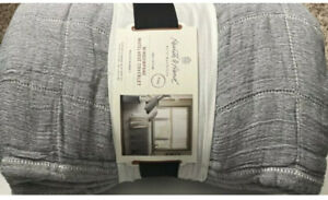 Hearth And Hand With Magnolia Windowpane Coverlet Gray KING NEW 100% Cotton