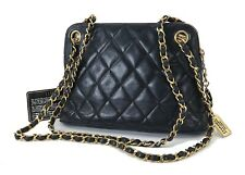 Authentic CHANEL Blue Quilted Lambskin Leather Chain Shoulder Bag #27167A