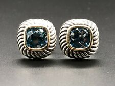 David Yurman Albion Sterling Silver & 14K Blue Topaz Cable Earrings