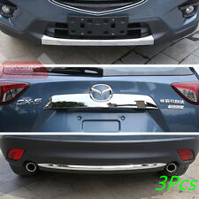 3Pcs Chrome Front +Rear Bumper +Trunk Lid Molding Trim For Mazda CX-5 2013-2016
