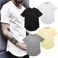 Fashion Men's T-Shirt Long Extended Casual T-Shirt New Basic Crew Neck Hip Hop