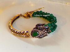 Pulsera de Esmeralda, Oro Antiguo Brazalete de estilo vintage, boho, étnico bohemio, gitano,