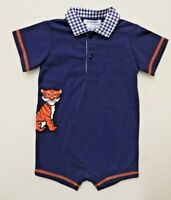 TIGERS BOY'S SIZE 18 MONTHS SHORTS ROMPER NAVY ORANGE SHORT SLEEVE AUBURN