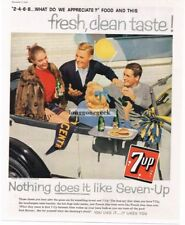 1958 SEVEN-UP 7UP Soda Teenagers in Antique Car Vtg Print Ad