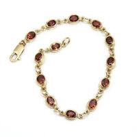 Ladies Oval Link Garnet  Bracelet 9ct Gold UK Hallmarked