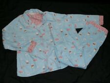Munki Munki Flannel Pajamas PJ Set SZ XL Cocoa Coffee Donuts Breakfast Blue Pink