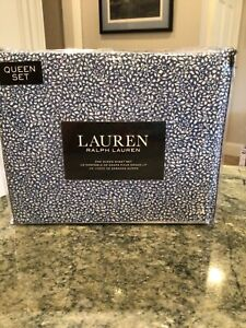 RALPH LAUREN Blue and White  Floral  Queen Deep Fitted Sheet Set  New in package