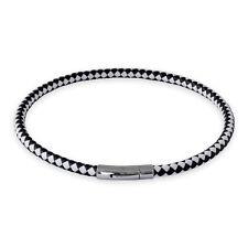 Lederkette Schwarz Weiss Halskette Armband mit Verschluss Damen Herren 18-70 cm