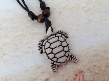 RESIN CARVED TURTLE SURFER UNISEX ADJUSTABLE BLACK CORD WOOD BEADS NECKLACE