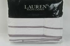 Ralph Lauren Home Spencer Cotton Sateen KING Duvet Cover White/Lavender $420