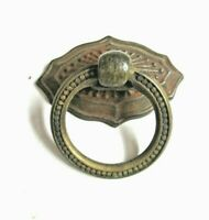 Small 1900s Aged Dark Brass Plated Ring Drop Pull Handle & Backplate 1 Antique