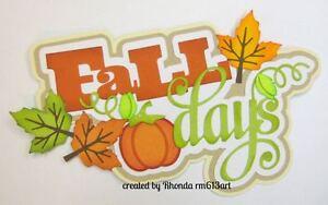 Fall Days boy girl paper piecing title premade scrapbook page Rhonda rm613art