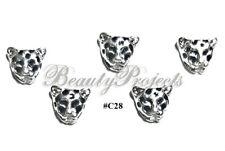 5pc Nail Art Charms 3D Nail Rhinestones Decoration DIY Leopard Bling - C28