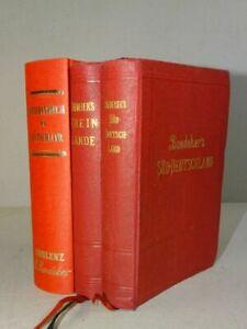 Rheinland Süddeutschland Handbuch Reisende Baedeker - 3 Bde Reiseführer - 1903