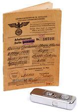 Minox riga nº 03763 (año 1938) + tarjeta de trabajo la VEF contabIe única