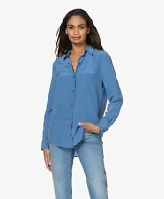 New Equipment Longer Essential Button Down Silk Blouse in Academy Blue S