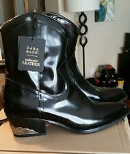 $159 NEW Zara Black Authentic Real Leather black Cowboy Boots Ankle US 6.5 EU 37
