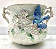 New ListingVintage 1990 Fitz & Floyd Large Ceramic Blue Bird Basket Weave Planter W/Dogwood