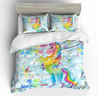 3D Unicorn Bedding Set Duvet Cover Pillowcase Zip Quilt Cover Without Comforter