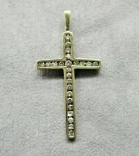 Gold Cross Pendant with 1-Point Diamonds