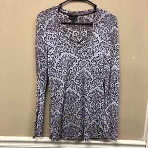 Athleta Size Large Burn Out Print Long Sleeve With Bulit in Tank Brown