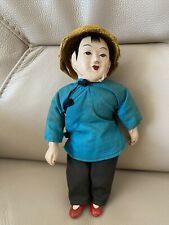Antique Doll Chinese Composition Head Hand Feet 1920s 1930s Fabric Body Dressed