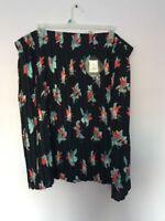 New Ava & Viv Floral Pleated Plus Size 3X Pleated Navy Print Elastic Waist Skirt