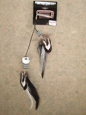 HANDMADE USA Feather Hair Extensions ONE OF KIND Black Clip Face Doll Stripes