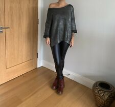 New Look Silver Metallic Knit Jumper Festive Holidays Size 18 Cropped Sleeves